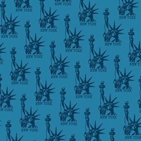 Nyc Statue Of Liberty Blue Icon Toile Cotton Fabric