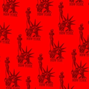 Nyc Statue Of Liberty Red Icon Toile Cotton Fabric