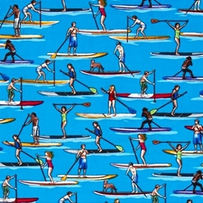 Paddle Boarding Stand Up Water Sports Blue Cotton Fabric