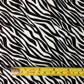 Black and White Smaller Diagonal Zebra Skin Pattern Cotton Fabric