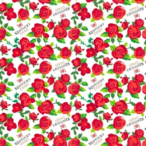Kentucky Derby Rose Red Roses White Cotton Fabric
