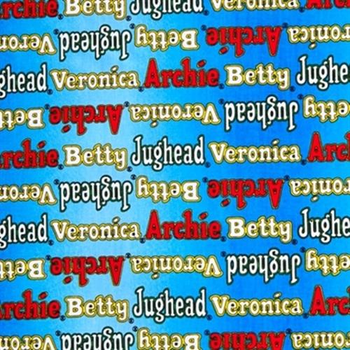 Archie Comics Character Names Jughead Veronica Blue Cotton Fabric