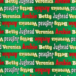 Picture of Archie Comics Character Names Jughead Veronica Green Cotton Fabric