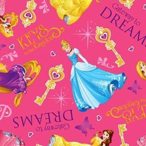 Picture of Disney Princess Gateway To Dreams Belle Rapunzel Pink Cotton Fabric