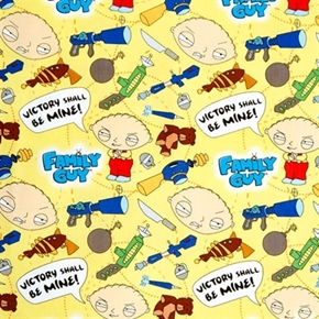 Family Guy Stewie Griffin Victory Shall Be Mine Yellow Cotton Fabric