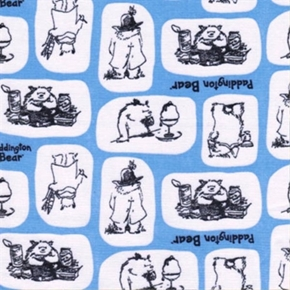 Picture of Paddington Bear Storybook Tiles in Marina Blue Cotton Fabric