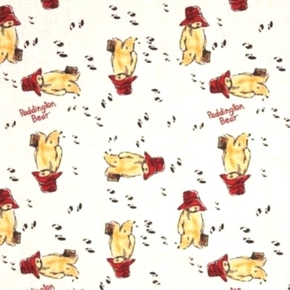 Picture of Paddington Bear Storybook Wandering Bear in White Cotton Fabric