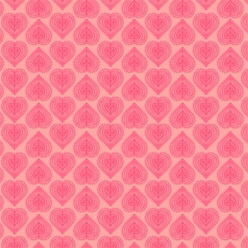 Love Letters Heart Rows Hearts In Pink Cotton Fabric