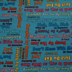 Picture of Mr Men and Little Miss Storybook Quotes Dark Teal Cotton Fabric