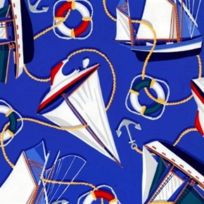 Picture of Yachts and Anchors Sailboats Nautical Cotton Fabric