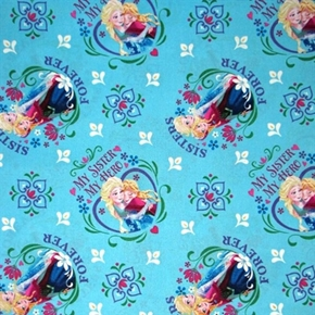 Disney Frozen My Sister My Hero Badge Toss Blue Cotton Fabric