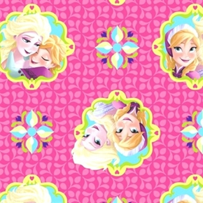 Disney Frozen Sisters Forever Badge Toss Pink Cotton Fabric