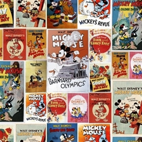 Picture of Disney Mickey Mouse and Friends Vintage Posters Cotton Fabric