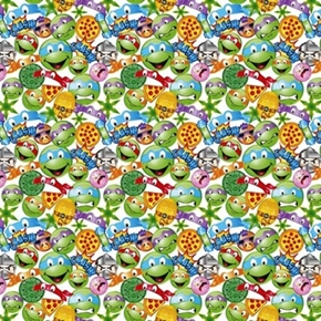 Picture of TMNT Icon Toss Teenage Mutant Ninja Turtle Emoji Cotton Fabric