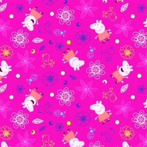 Peppa Pig Plays In Flowers Nickelodeon British Tv Show Cotton Fabric