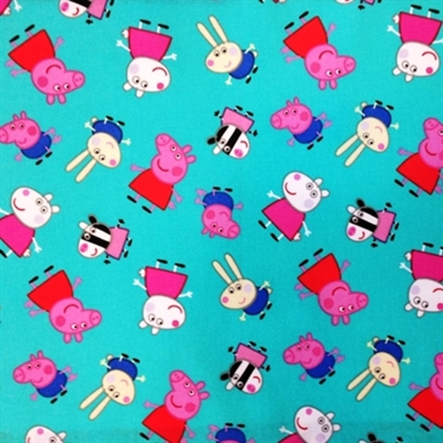 Peppa Pig And Friends Nickelodeon British Tv Show Blue Cotton Fabric