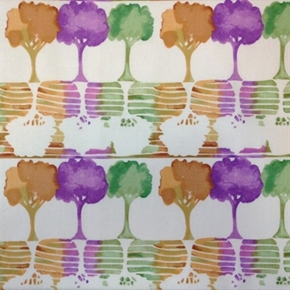 Picture of Watercolor Garden Ink Print Trees in Rows Cotton Fabric