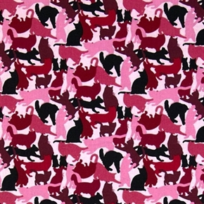 Picture of Cat Breeds Pink Silhouettes of Cats and Kittens Cotton Fabric