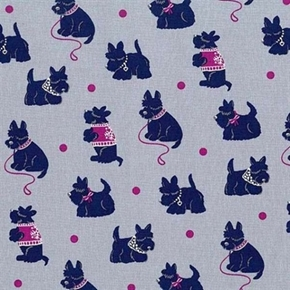 Bespoke Scotties Dogs Ready For a Walk Grey Cotton Fabric