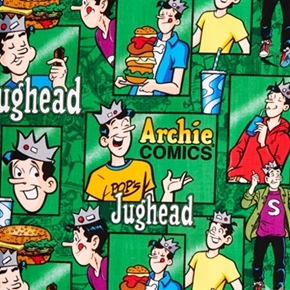 Picture of Archie Comics Jughead in Blocks in Green Cotton Fabric