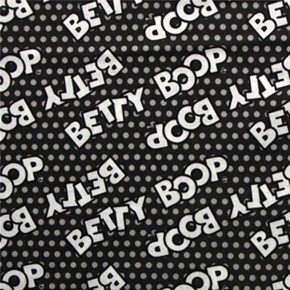 Picture of Betty Boop Logos on Black with Grey Polka Dots Cotton Fabric