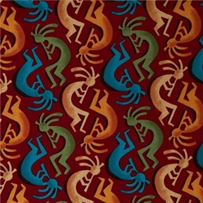 Painted Desert Kokopelli Stripe Southwestern Salsa Red Cotton Fabric