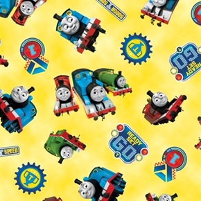Picture of Thomas The Tank Engine The Steam Team Yellow Cotton Fabric