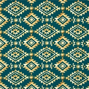 Painted Desert Diamond Stripe Southwestern Teal Cotton Fabric