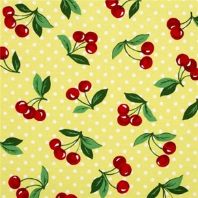 Picture of Cherry Dot Cherries on Yellow with White Polka Dots Cotton Fabric