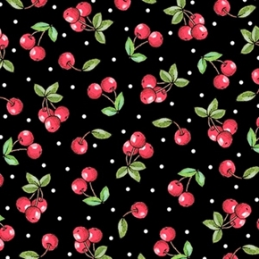 Mary Engelbreit Marys Mottos To Live By Cherries Black Cotton Fabric
