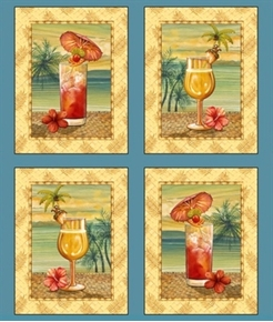 Picture of Paradise Delights Topical Cocktail Drink Block 24x22 Cotton Fabric