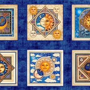 Celestial Sol Picture Patches Midnight Blue 24X44 Cotton Fabric Panel