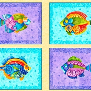 Jewels Of The Sea Colorful Fish Blocks 24X44 Large Cotton Fabric Panel
