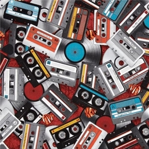 Picture of All Amped Up Music Cds Cassettes Tapes Records Cotton Fabric