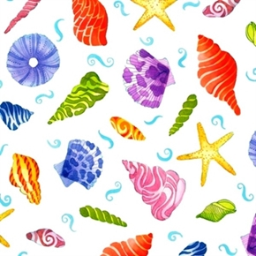 Jewels Of The Sea Colorful Seashells On White Cotton Fabric