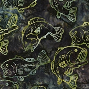 Wildlife Sanctuary 2 Green Blue Black Fish Combed Cotton Batik Fabric