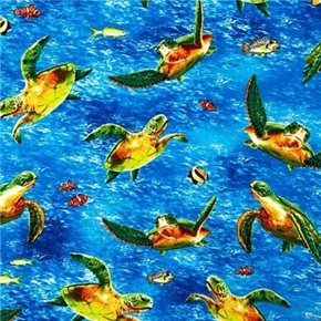 Island Sanctuary 2 Colorful Sea Turtles Fish Swimming Cotton Fabric