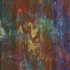 Picture of Elementals Ikat Purple Red Blue Cityscape Combed Cotton Batik Fabric