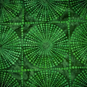 Bubbles 2 Round Starbursts In Blocks Island Green Cotton Batik Fabric