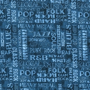 Picture of All Amped Up Music Genera Soul Rock Blues Hip Hop Blue Cotton Fabric