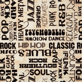 All Amped Up Music Genera Soul Rock Blues Hip Hop Ivory Cotton Fabric