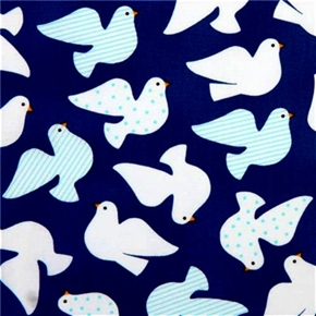 Picture of Jingle White Doves Dove Birds on Blue Cotton Fabric