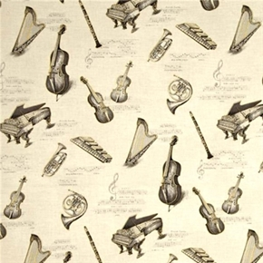 All That Jazz Metallic Music Instrument Harp Piano Cello Cotton Fabric