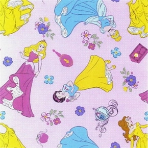 Picture of Disney Princess Pink Multi-Dots Snow Cinderella Belle Cotton Fabric