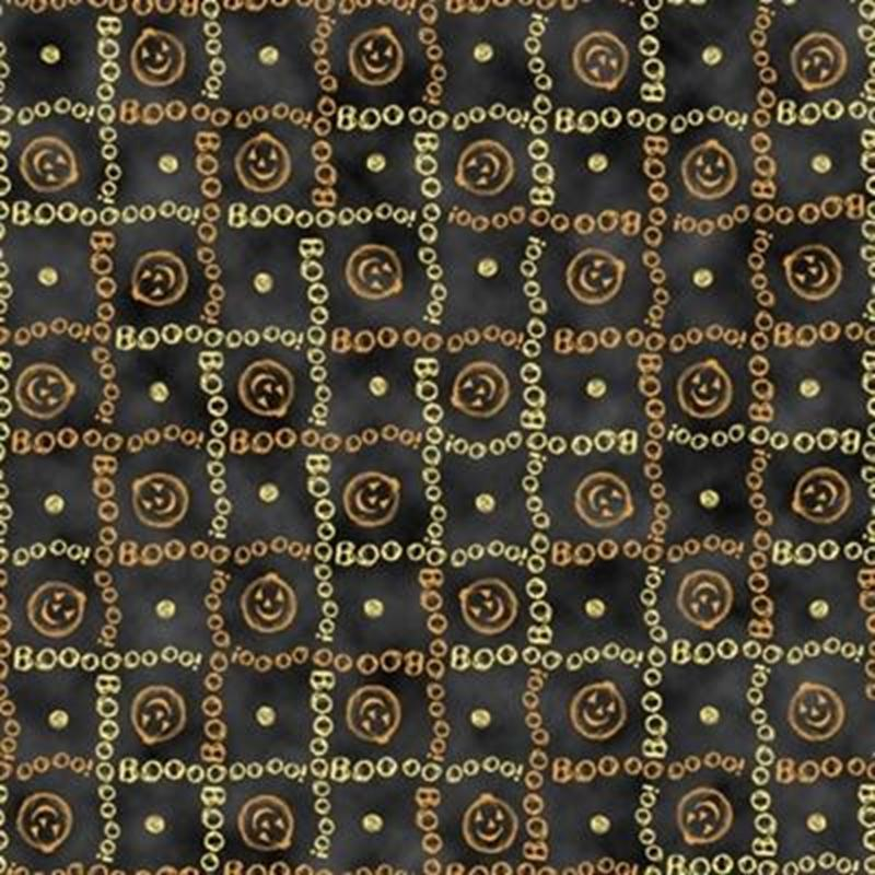 Picture of Charmed Halloween Pumpkins Boo Squares Black Cotton Fabric