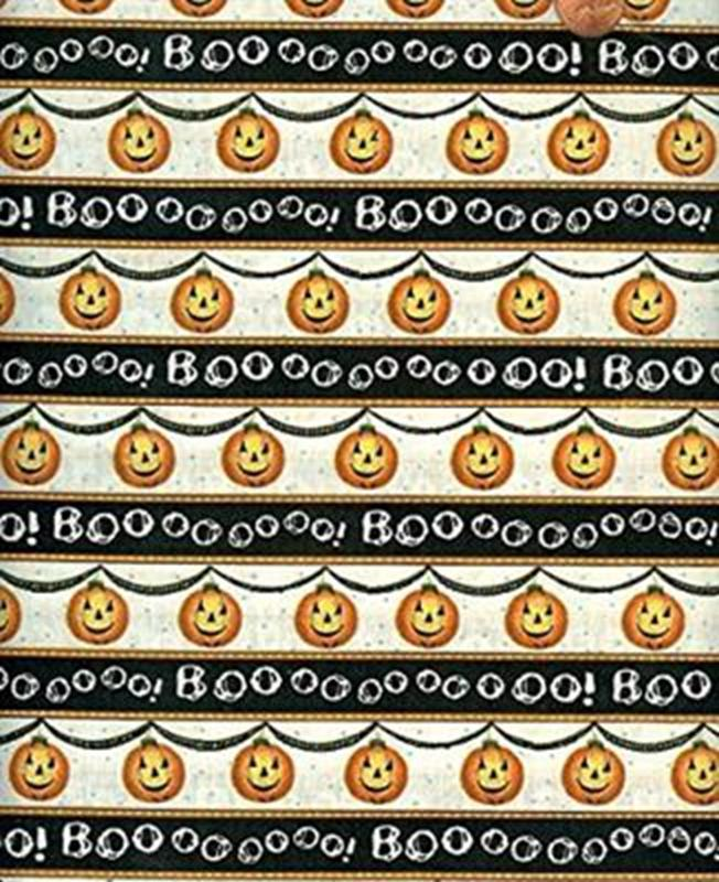 Picture of Charmed Boo and Pumpkin Halloween Stripes Cotton Fabric