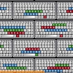 School Computer Keyboard Teach Teacher Inspire Learn Cotton Fabric