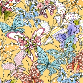 Picture of Up and Away Loralie Whimsical Butterflies Beige Cotton Fabric