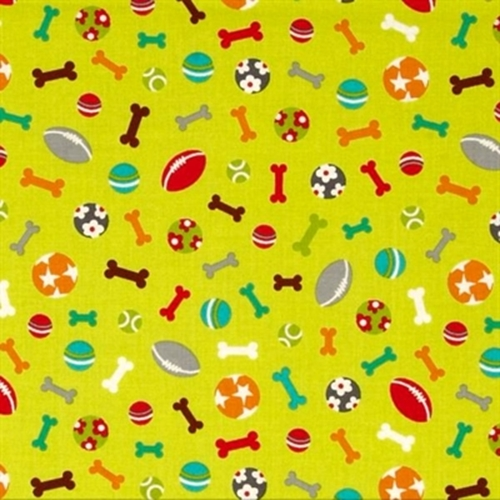 Picture of Dog Park Doggie Bones Biscuits Toys Cotton Fabric