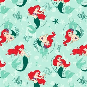 Disney Princess Ariel Under The Sea On Seafoam Green Cotton Fabric